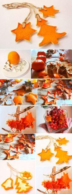 reciclar pieles de naranja para hacer adornos colgantes