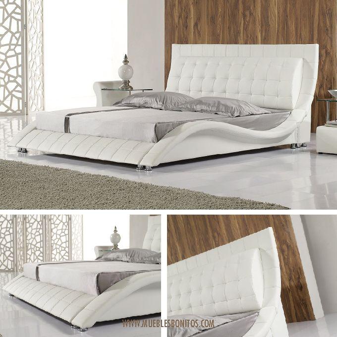oferta de la semana en muebles bonitos cama madrid en color blanco y medidas 135x190cm