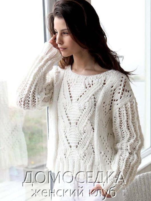 Белый пуловер спицами   фото