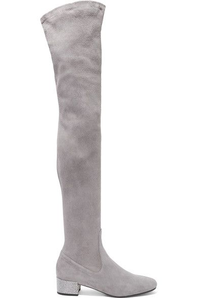 René Caovilla - Crystal-embellished Suede Over-the-knee Boots - Light gray