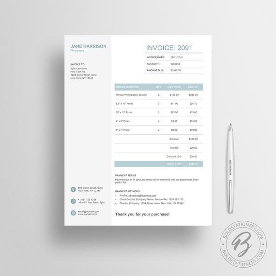 Invoice Template 06 Receipt Template Invoice Template For Etsy Invoice Design Invoice Template Receipt Template