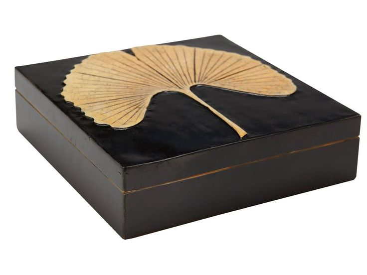 "IN STOCK, READY TO SHIP! Square stone box topped with inlaid copper metal ginkgo leaf. Overall Dimensions: 5""L x 5""W x 1""H Colors: Black/Gold Contents: Stone, Copper Care Instructions: Wipe with soft"