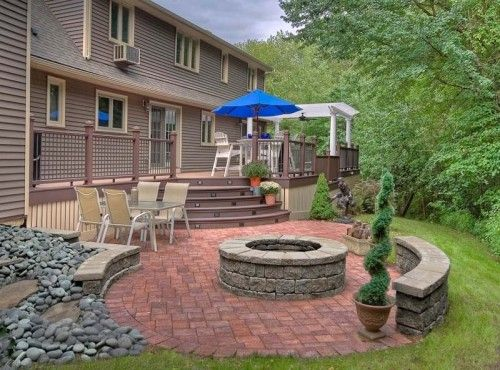 sort of our layout...we have the deck & step down to the fire pit ... - Concrete Patio Designs Layouts