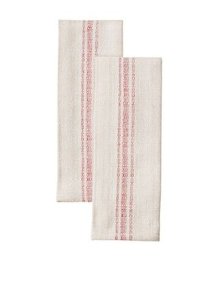 Chateau Blanc Set of 2 Buttermilk Cafe Towels, Red