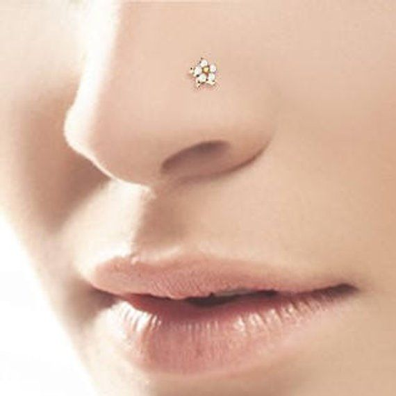 Rose Gold Tiny Surgical Steel Flower Nose Ring Stud 20g Steel