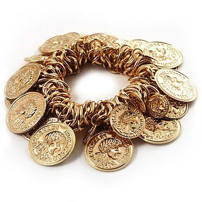 Gold Tone Coin Link Flex Bracelet Avalaya. $15.39. Type: handmade, hammered. Metal Finish: gold plated. Occasion: club night out, cocktail party, beach holiday. Design Element: charms. Style: ethnic