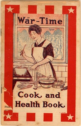 War-Time Cook and Health Book – 1917  Printed shortly after America entered World War I, this book had two goals: to teach women to better ration and save their food, and to help promote Lydia E. Pinkham's Vegetable Compound. The first goal is obvious in the recipes in the book, most of which were created by the U.S. Department of Food Conservation or the U.S. Food Administration. The second goal is obnoxious in its persistence