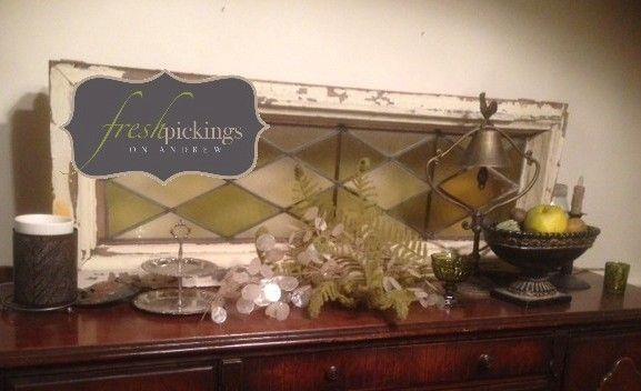 fresh vintage~ fantastic old stained glass window and fresh pickings extras....all styled by Joanne D!