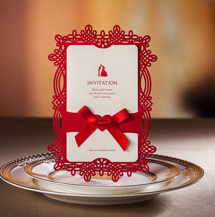 50 set of Red wedding invitation cards , Personalize invitation cards, Hollow out cards, Luxury Lace Wedding Invitation- H4WCW062