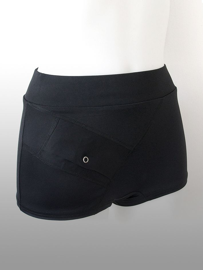 AnnaPS - Boxer Boxi Deep Black Swimwear with short legs with integrated pocket to wear insulin pump. A sturdy sewn - in elastic can be folded down. You will not drop the pump and now you can sunbath with your pump