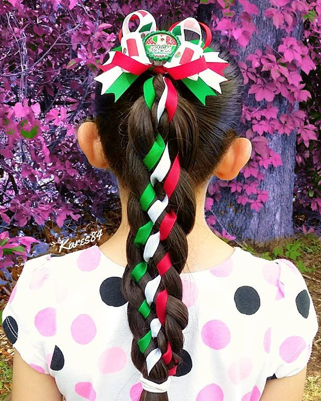 Traditional Mexican Braids With Ribbons