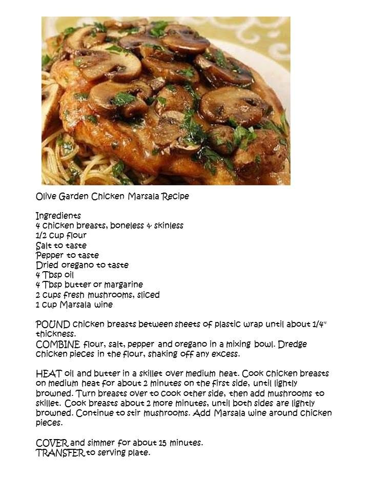 Olive garden chicken marsala recipes pinterest gardens chicken marsala and chicken breasts for Olive garden stuffed chicken marsala recipe