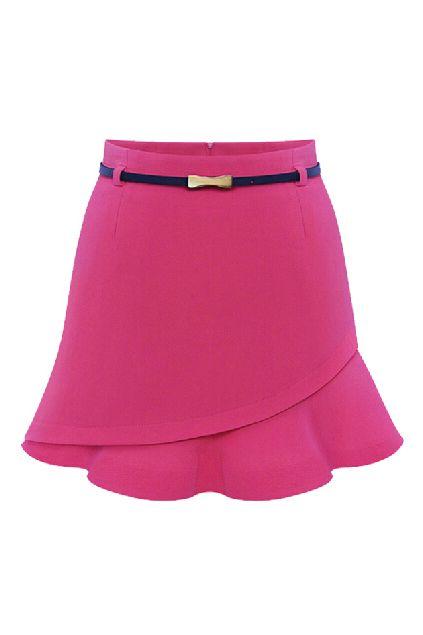 ROMWE   ROMWE Asymmetric Falbala Zippered Sheer Red Skirt, The Latest Street Fashion