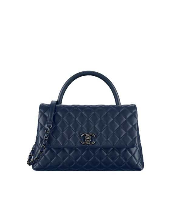Flap bag with handle, grained calfskin-navy blue - CHANEL