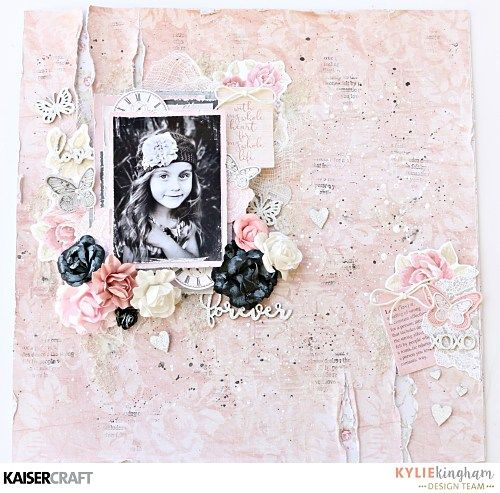 'P.S. I Love You' Scrapbook Layout + Video by Kylie Kingham Design Team member for Kaisercraft using their 'P.S. I Love You' collection. (December 2016) Learn more at  kaisercraft.com.au/blog/ - Wendy Schultz - Scrapbook Layouts.