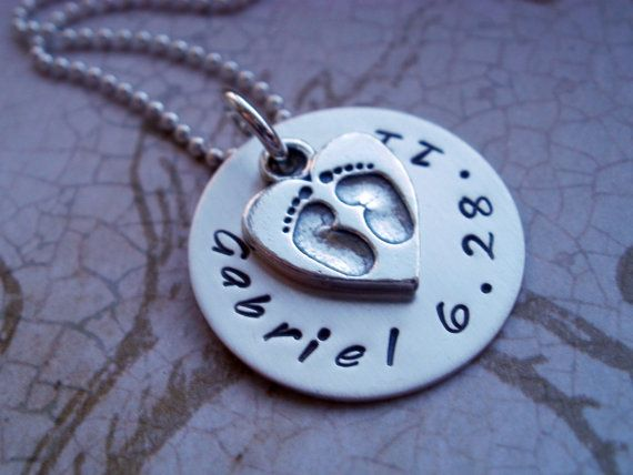 Name and Date with Baby Feet Hand Stamped by BeckOriginals on Etsy, $49.00 #handstamped #hand stamped #mommy jewelry
