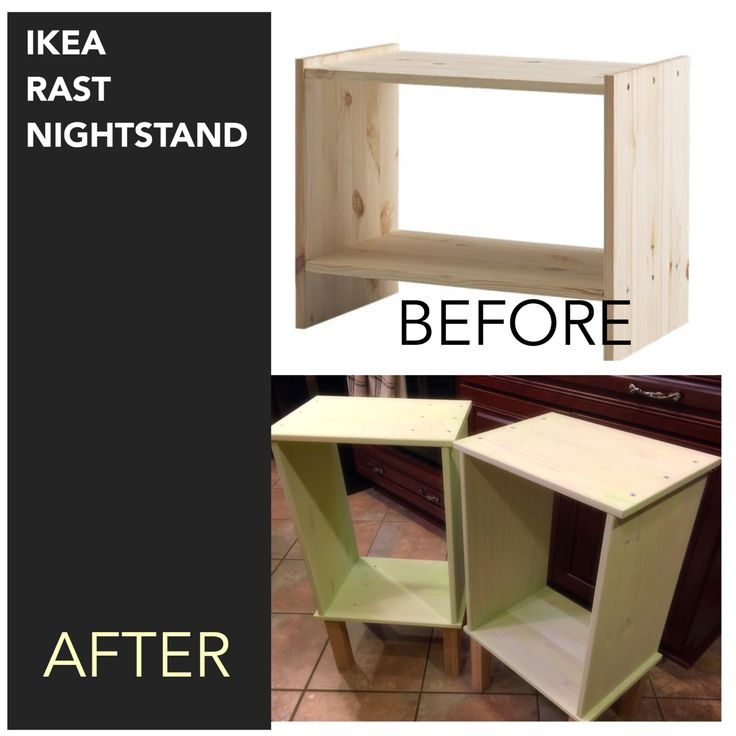 "IKEA RAST nightstand hack #ikeahack #diy  I ""stained"" the bare wood with an acrylic pain wash & added legs from Lowes"