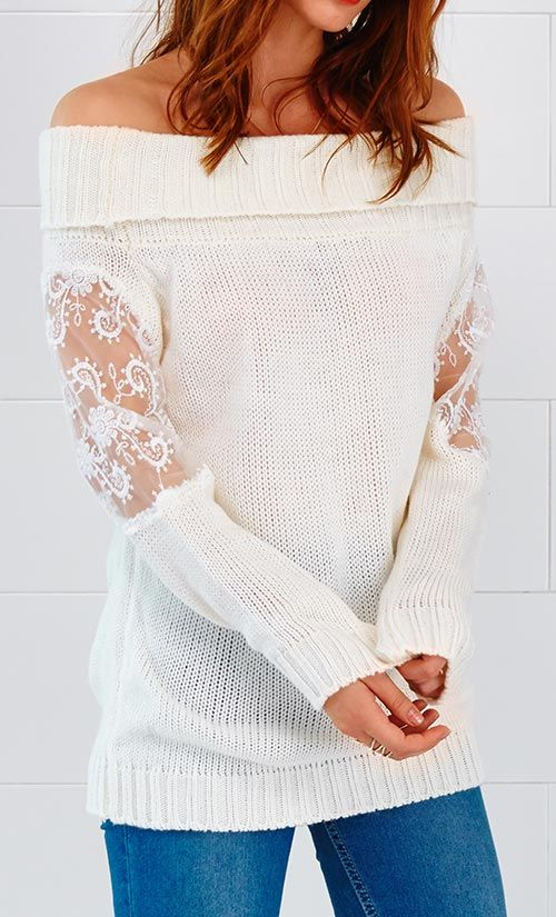 Arrival within one week now! This off the shoulder sweater featured big lapel&lace splicing will be your faves this fall. Put it in the wardrobe Now!