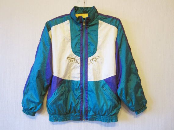 Vintage Hipster Jacket Windbreaker Emerald Purple Oversized Parka Lightweight Gold Embroidery Unisex Small Medum