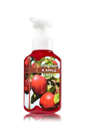 Sunlight & Apple Trees - Gentle Foaming Hand Soap - Bath & Body Works - Our Gentle Foaming Hand Soap delivers a cloud of luxurious foam that transforms into a rich, creamy lather to gently wash away dirt and germs, while soothing Aloe and nourishing Vitamin E leave hands feeling soft, smooth and lightly scented!