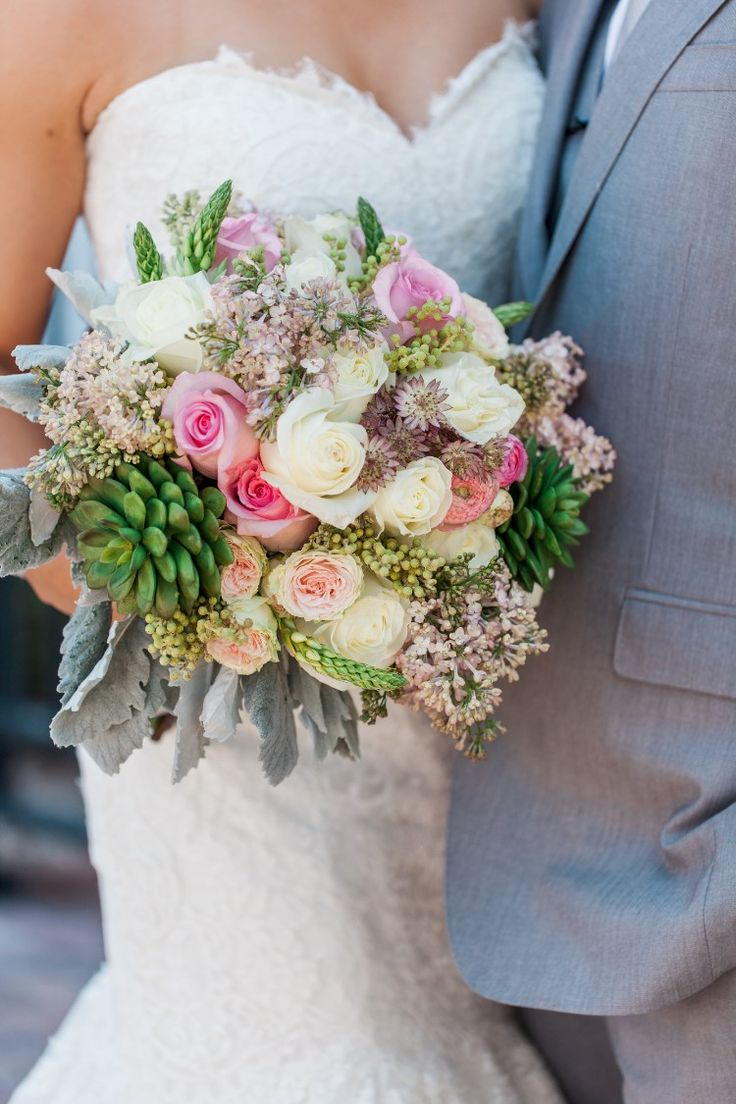 Beachy Miami Wedding at The Ritz-Carlton Bal Harbour, FL  Beautiful pink, green, and white bouquet!   Photographer: Landon Hendrick Photography