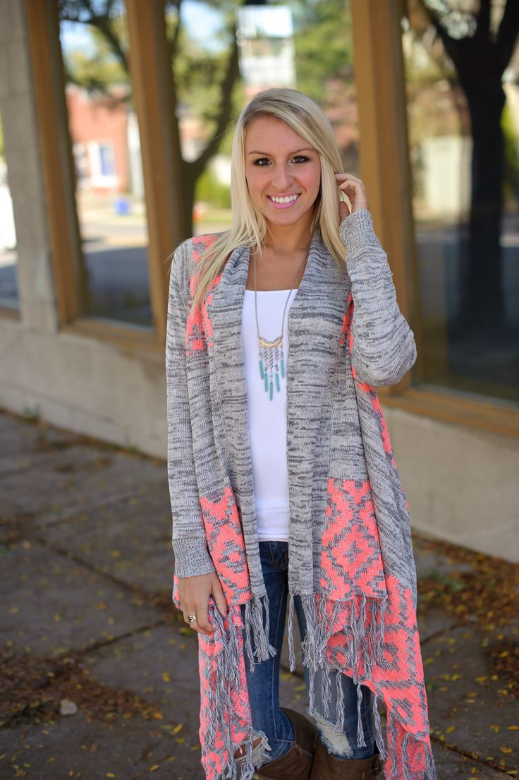 Long open cardigan with fringe asymmetrical hem and neon coral ...