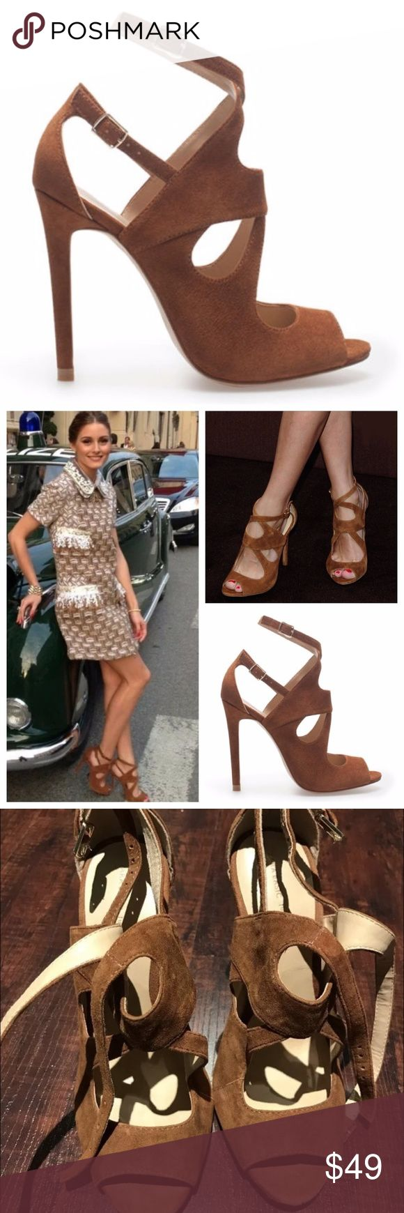 ZARA Brown Strappy Heels Sz 36 Olivia Palermo RARE ZARA, Suede Whiskey Brown Strappy Sandal Heels Sz 36  As seen on Olivia Palermo -- Very rare. Only worn once! Zara Shoes Heels