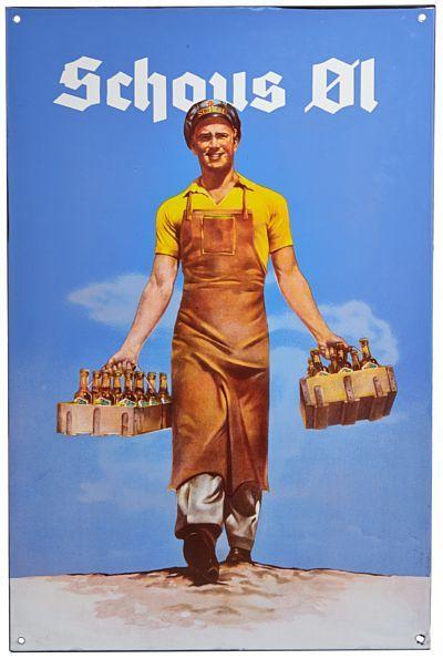 """EMALJESKILT  """"Schous øl"""". Midten av 1900-tallet. HØYDE 88,00 CMLENGDE 57,00 CM"""