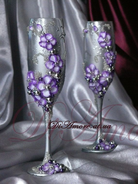 Purple and Silver Wedding glasses from the collection by DiAmoreDS
