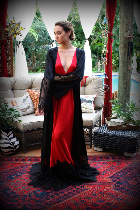 Red Satin Nightgown Valentines Lingerie Black Lace Satin Sleepwear Lipstick Red Gown Sarafina Dreams by SarafinaDreams