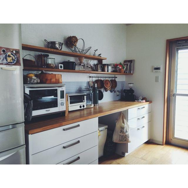 komakiさんの、キッチン,ナチュラル,タイル,北欧,シンプル,キッチン収納,のお部屋写真