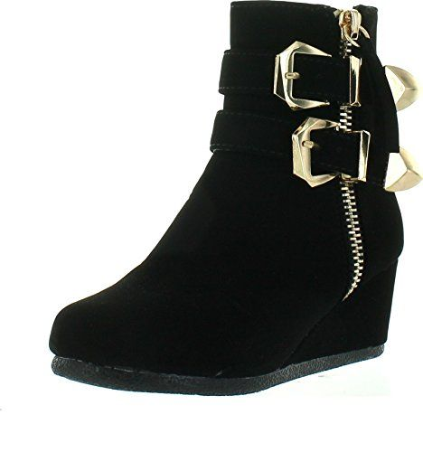 perfect Link Peggy-90K Children Girl's Wedge Heel Double Straps High Top  Ankle Booties