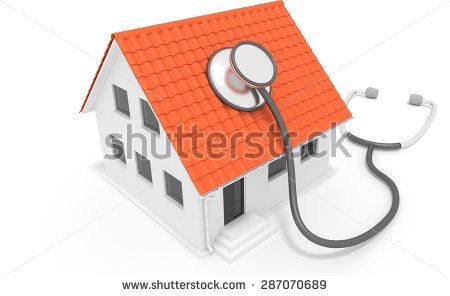 Sick Building Syndrome - Building with stethoscope - white isolated