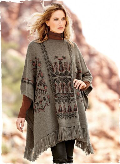 What an amazing motif - Kilim Bands Alpaca Poncho - Peruvian Connection