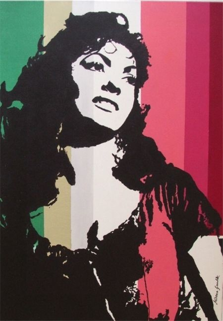 WOMAN PORTRAIT POP ART PAINTING CANVAS RED MID CENTURY VINTAGE GINA LOLLOBRIGIDA #PopArt