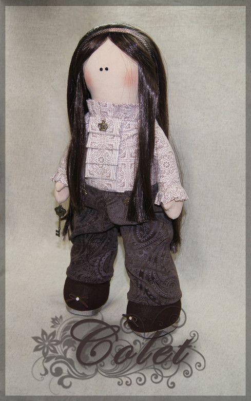Текстильная кукла с искусственными волосами, набивка - холлофайбер.   Рост 49 см.   Тextile doll with artificial hair, stuffing - a hollofayber. Height 49 cm.