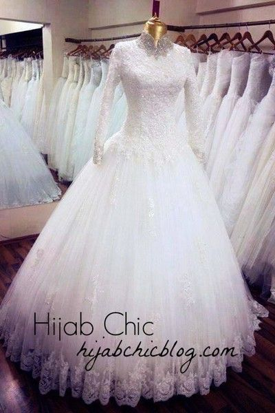 pretty white wedding dress for hijab