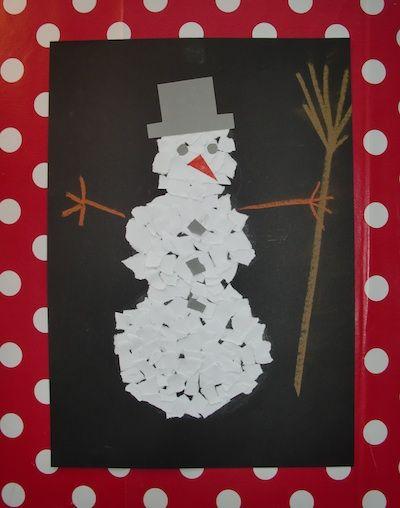 Collage bonhomme de neige de nuit