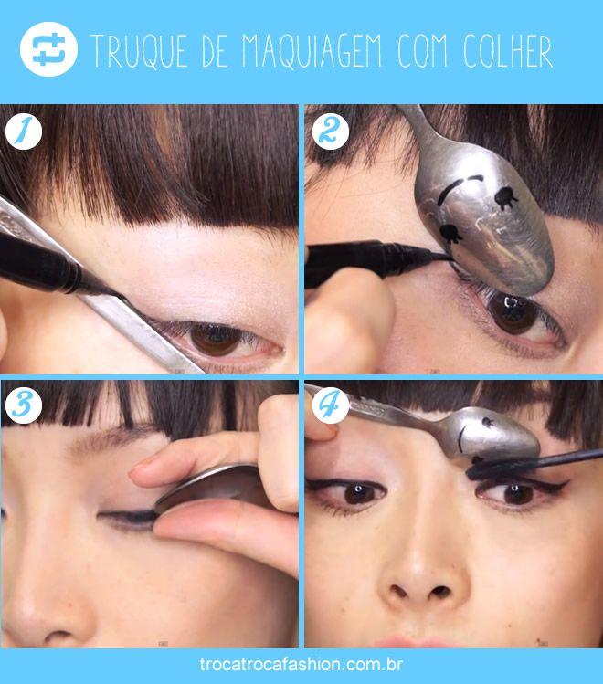 truque de maquiagem usando colher! Demais!