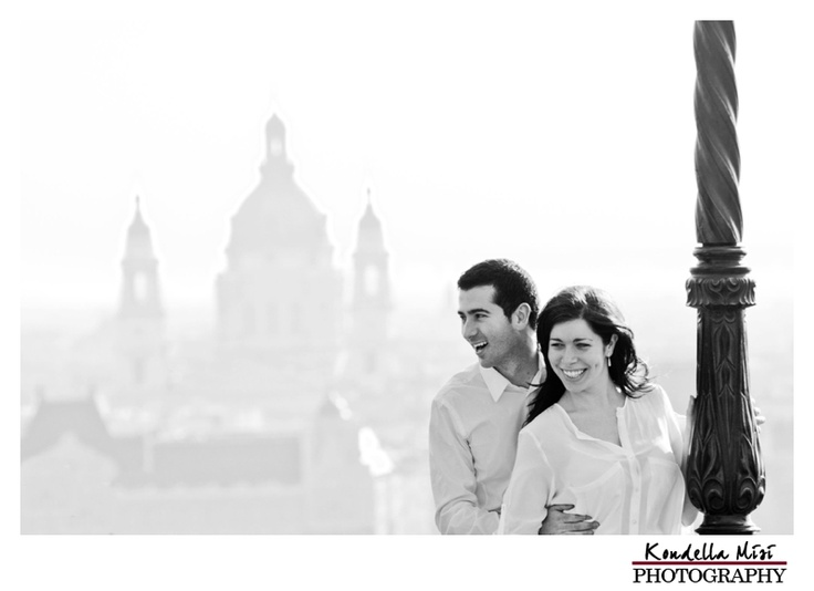 Budapest engagement love session in spring time at sunrise with city panorama