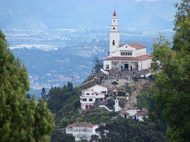 Cerro de Monserrate, Bogota Colombia. If you hike stick with a group as violent theft is a frequent occurrence. You're wise to ascend by cable car or funicular. (take a taxi to the station)