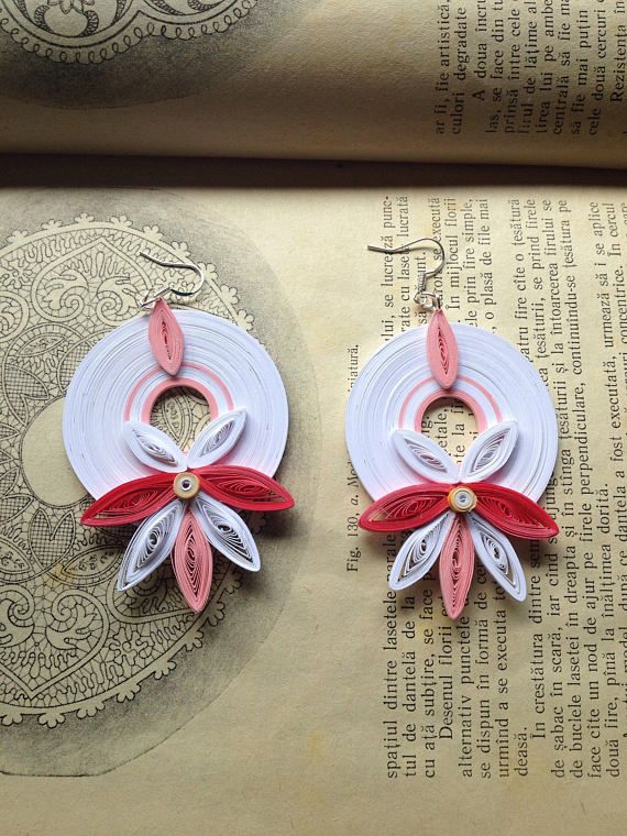 White pink earrings Quilling jewelry Flower earrings Paper