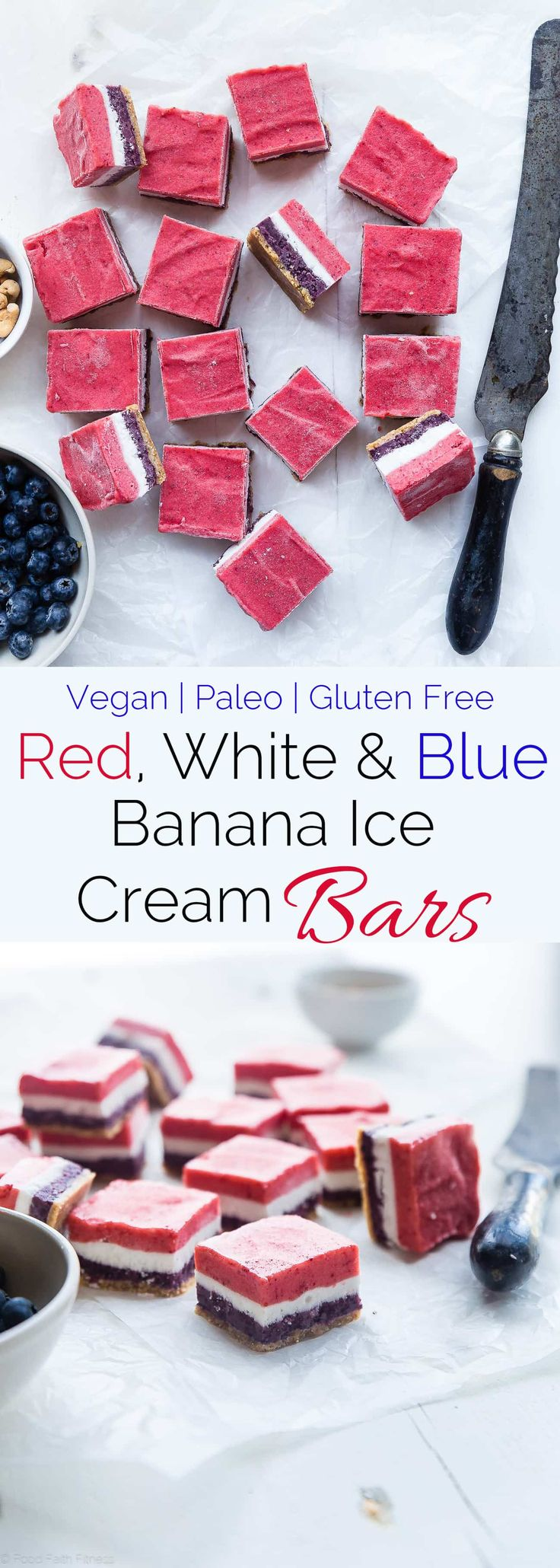 Red, White and Blue Vegan Banana Ice Cream Bars - Gluten/dairy free and only 7 ingredients! The perfect healthy treat for summer or the fourth of July that are only 125 calories! | Foodfaithfitness.com | @FoodFaithFit