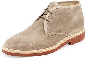 $595, Beige Suede Desert Boots: Ermenegildo Zegna Suede Chukka Boot Light Brown. Sold by Neiman Marcus. Click for more info: http://lookastic.com/men/shop_items/153301/redirect