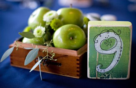 Use fruit to accentuate your reception table number cards: Centerpieces Ideas, Receptions Tables, Wedding Tables Numbers, Green Apples, Fruit Centerpieces, Apples Centerpieces, Wedding Tables Decor, Wedding Centerpieces, Green Wedding