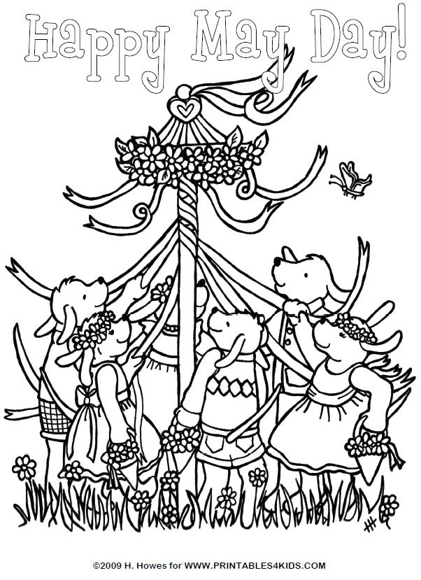 May Day Maypole Celebration Coloring