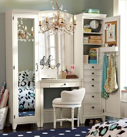 love this vanity idea! so much storage, and the white is so chic! adding a stool with a cute printed fabric could really tie it together in the bathroom.