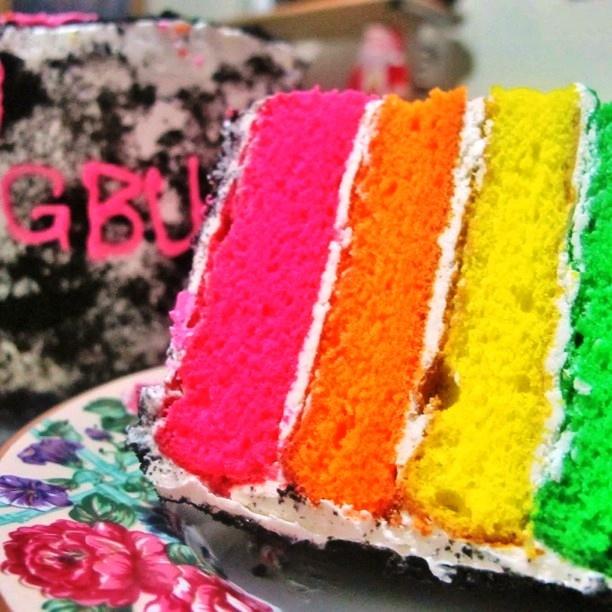 Rainbow Cake Sliced