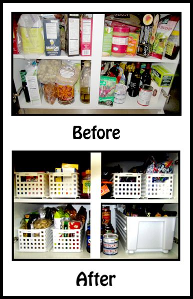 Here is a project that you can DO YOURSELF. Go to the Dollar Store and buy yourself some sturdy, long baskets. Use them in the cabinets of your kitchen or bathroom to contain similar items. Top this project off by labeling each basket with what's inside. Now all you have to do is pull out the basket for easy access to your goodies!