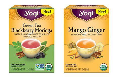 Yogi Tea New Flavors Combo Pack - Organic Herbal Tea - Mango Ginger And Green Tea Blackberry Moringa ** Want additional info? Click on the image.